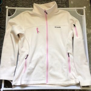 Columbia off white fleece jacket with pink ribbon